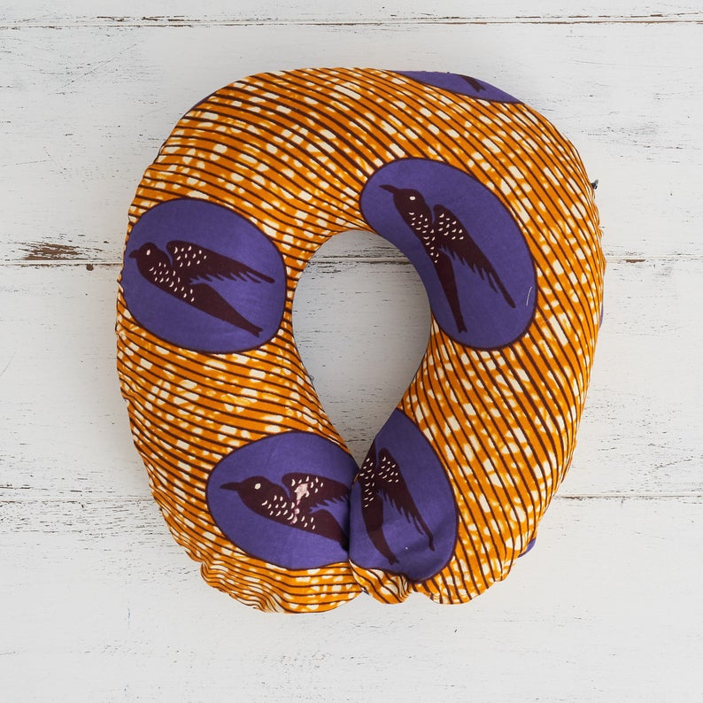 Travel pillow - Purple gold speed bird