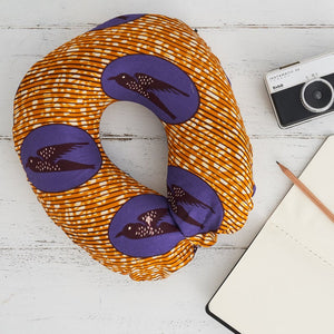 Travel pillow - Purple gold speed bird - Bespoke Binny