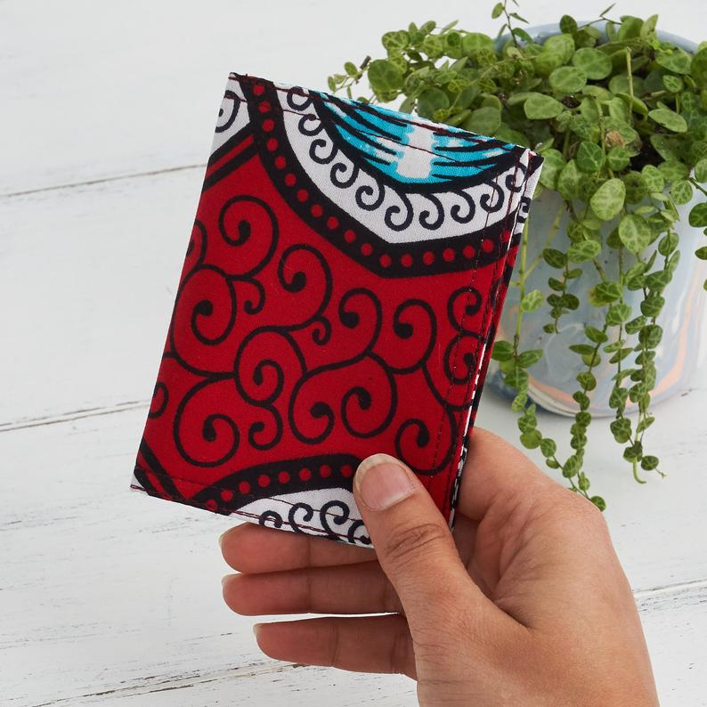 Card holder African print -  Red Marine