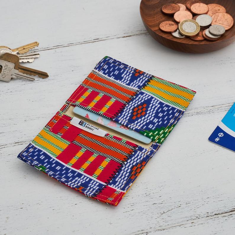 Card holder African print - Multi coloured kente