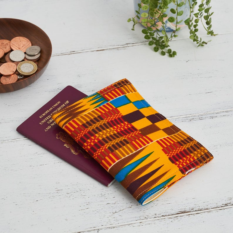 African Print Passport Holder - Red brown Kente