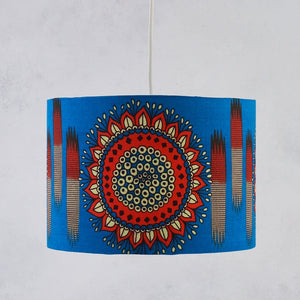 Lampshade African Wax Print - Blue orange circle