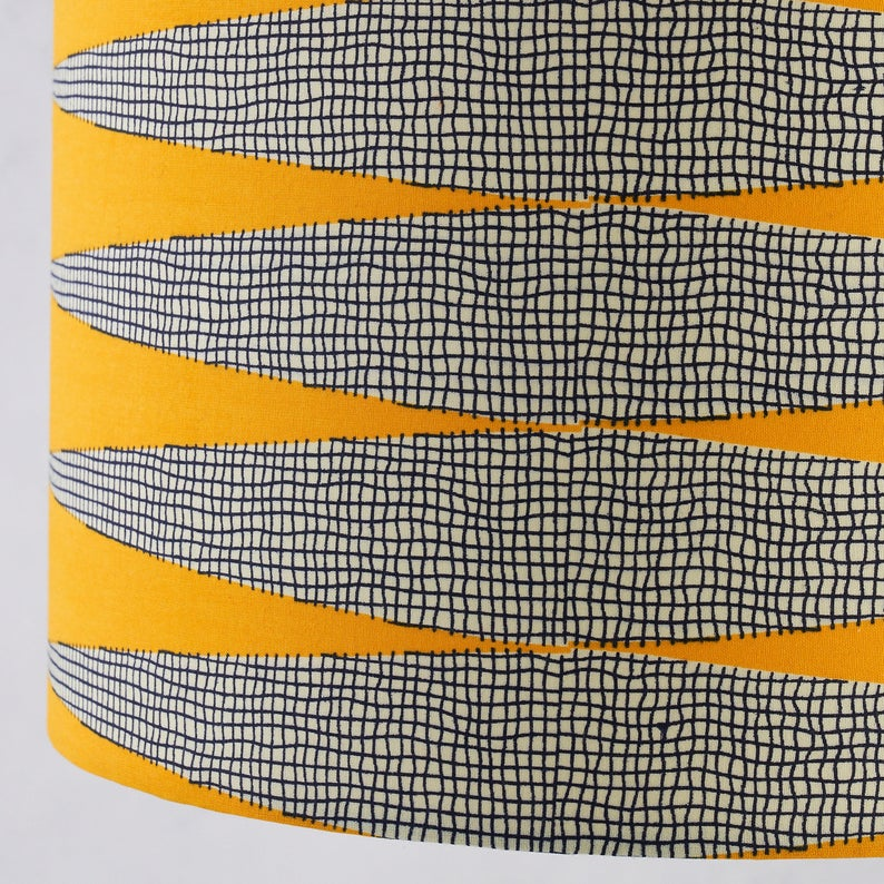 Lampshade African Wax Print -  yellow white zig zag