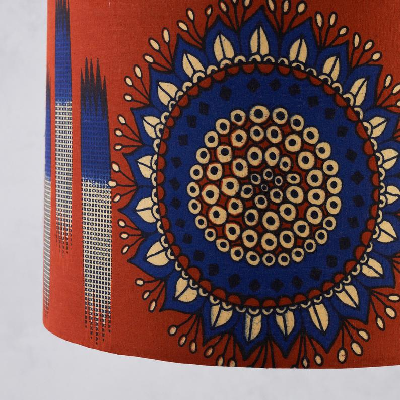 Lampshade African Wax Print -  Rust blue circle