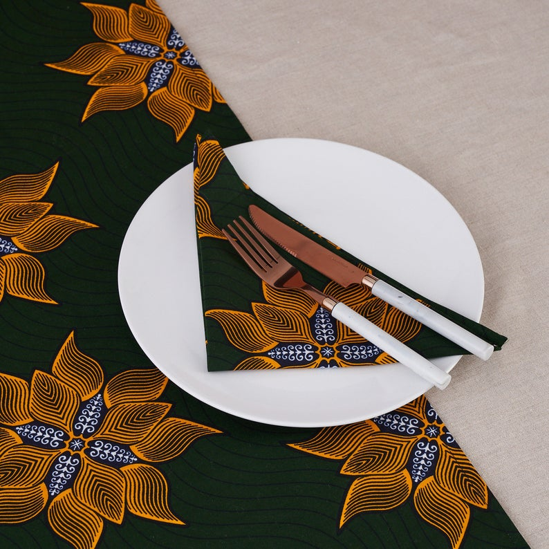 African print napkins set of 4 - Deep green floral