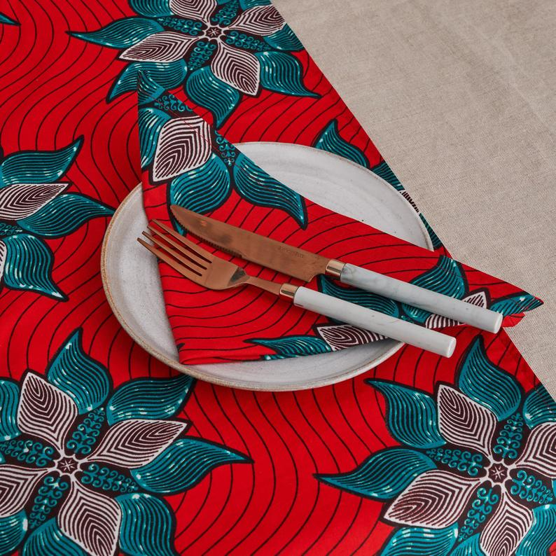 African print napkins set of 4 - Red Marine