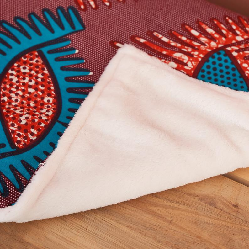 African print throw blanket - Maroon and Turquoise