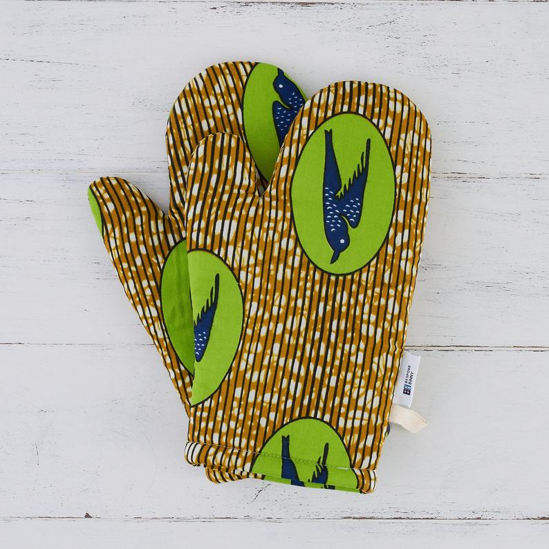 Oven mitts - Green speed bird - Bespoke Binny