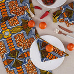 African Print Table Runner - Orange Blue Squares