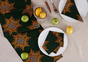 African Print Table Runner - deep green floral