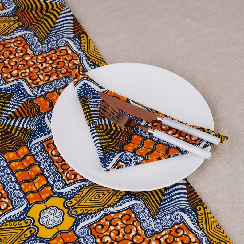 African print napkins set of 4 - Orange Blue Squares