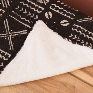 African fabric throw blanket - Black Mud Cloth