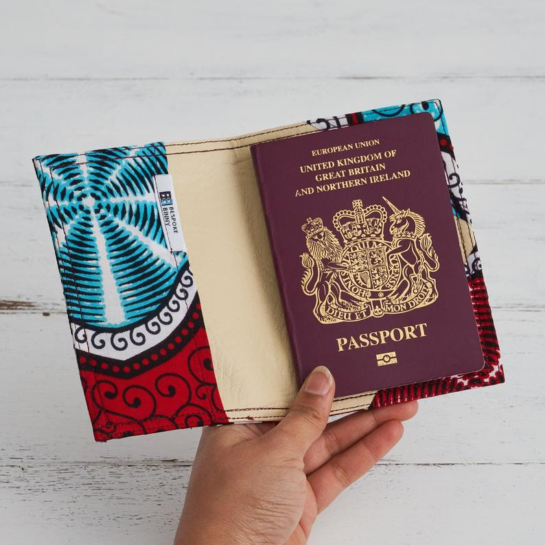 Passport Holder - Red Marine Fabric