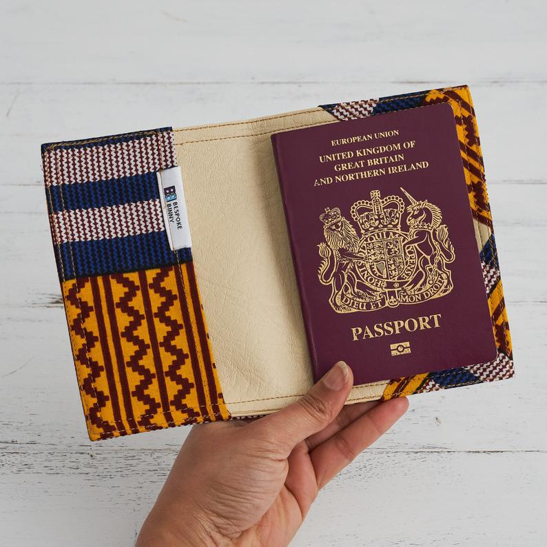 Passport Holder - Blue and yellow kente