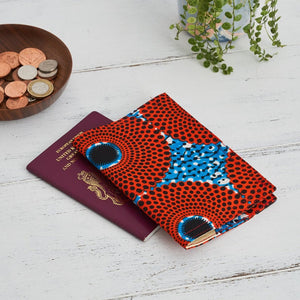 Passport Holder -  Red blue record print
