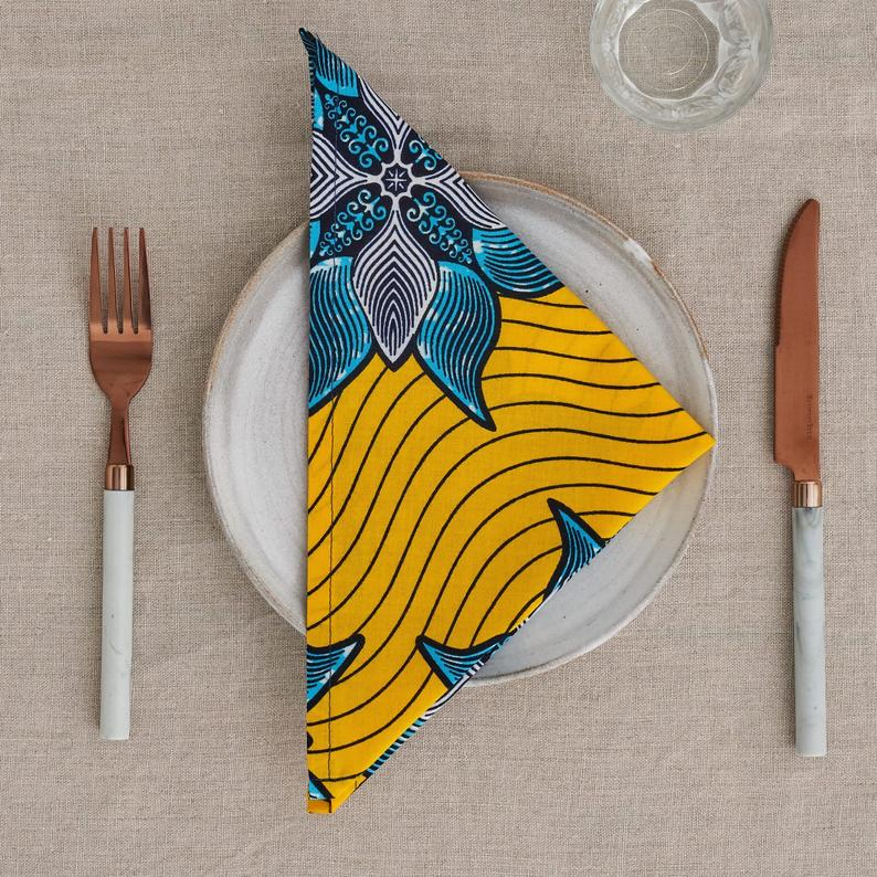 PRE-ORDER African print napkins set of 4 - Yellow Marine