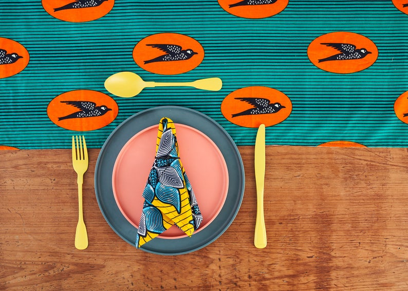 African Print Table Runner - Turquoise speed bird