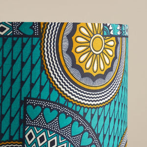 African wax print drum lampshade -  turquoise sunshine