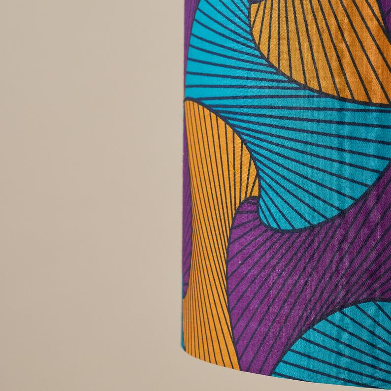 African wax print drum lampshade - Purple yellow waves