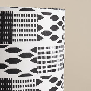 African wax print drum lampshade -  Black white kente
