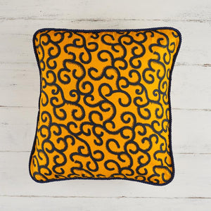 African print pillow cover - yellow swirls print cushion
