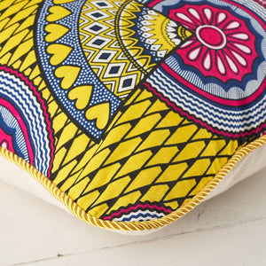 African print pillow cover - pink yellow sunshine cushion