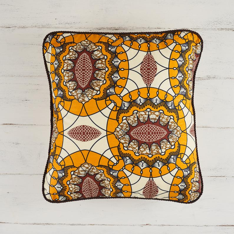 African print pillow cover - Yellow and brown geometric abstract cushion