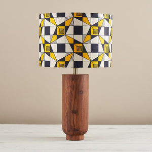 African wax print drum lampshade - Navy blue yellow