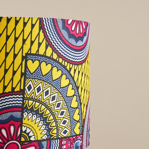 African wax print drum lampshade - Pink yellow sunshine