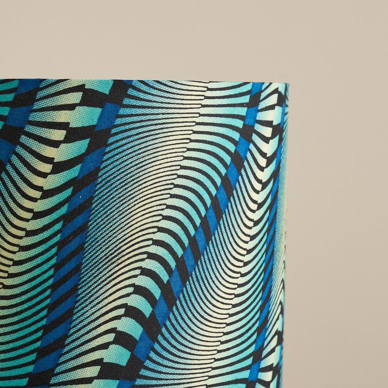 African wax print drum lampshade - Wavy blue