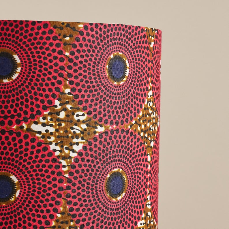 African wax print drum lampshade - Pink tan record print