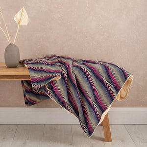 African print throw blanket - Purple pink waves