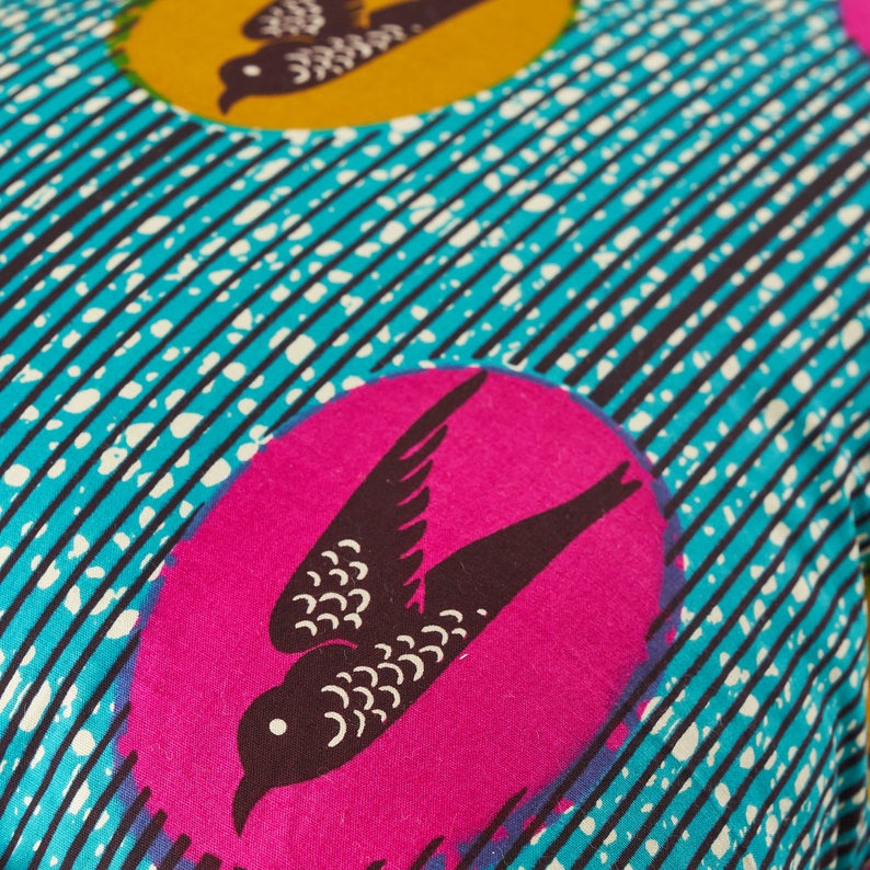 African print pillow cover - turquoise and pink speed bird cushion