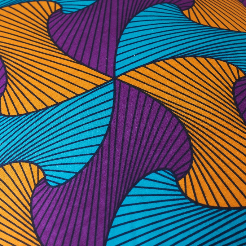 African print pillow - Wavy purple cushion