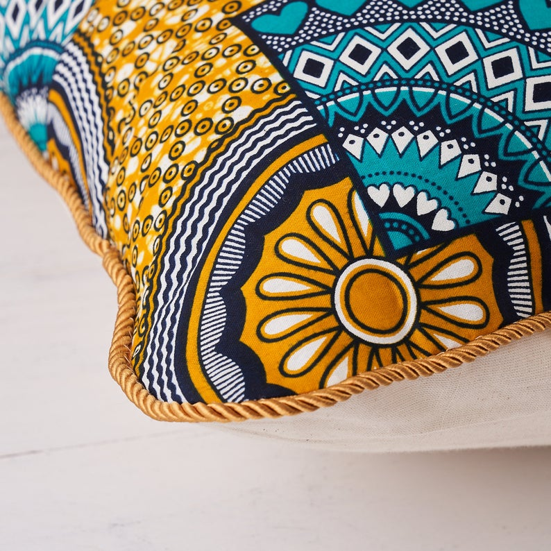 African print pillow - Turquoise sunshine cushion