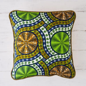 African Print Pillow - Lime cassettes cushion