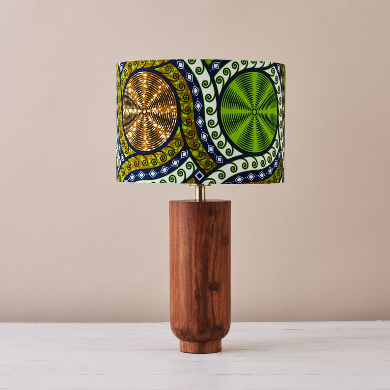African wax print drum lampshade - Lime cassettes