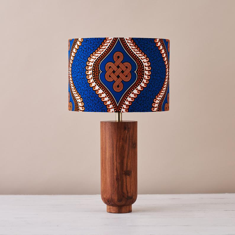 African wax print drum lampshade -  Blue royalty