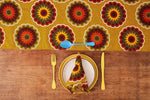 African Print Table Runner - Yellow florettes