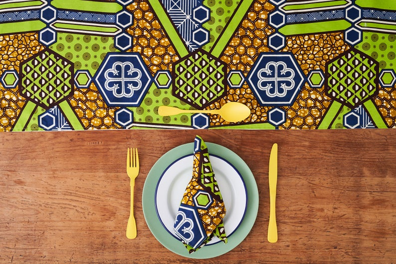 African Print Table Runner - Green Nyame fabric