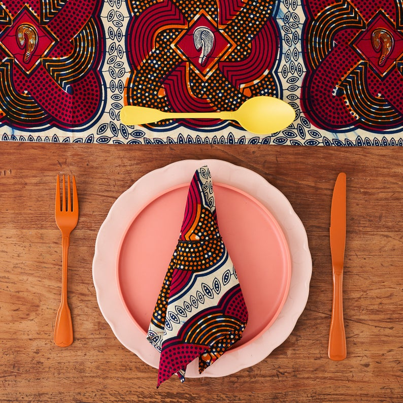 African Print Table Runner - Pink Tassel