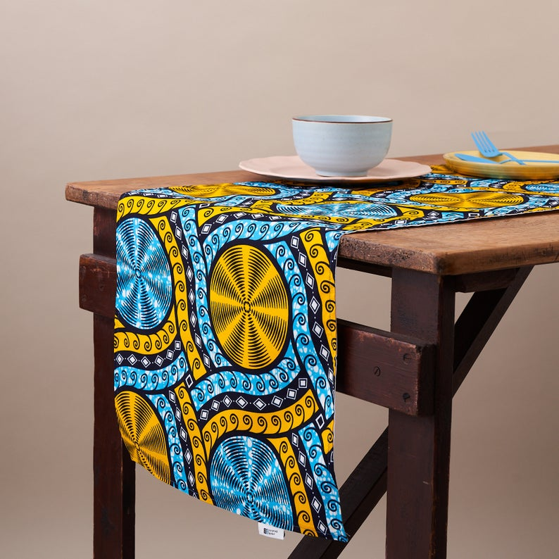 African Print Table Runner - Cyan Cassettes