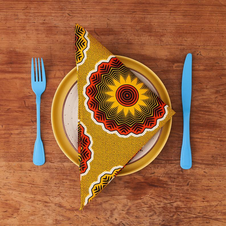 African print napkins set of 4 - Yellow Florettes