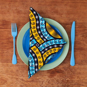 African print napkins set of 4 - Blue cassettes