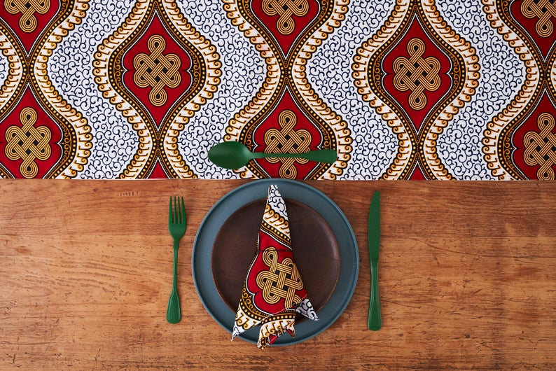 African Print Table Runner -  Red Royalty fabric