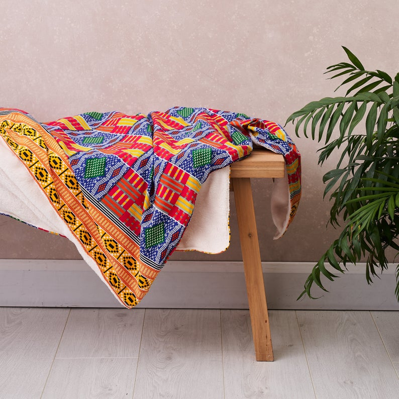 PRE-ORDER African print throw - Rainbow kente blanket
