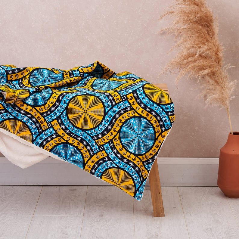 PRE-ORDER African print throw - Cyan cassettes blanket