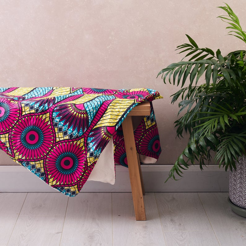 African print throw - Pink sunflowers blanket