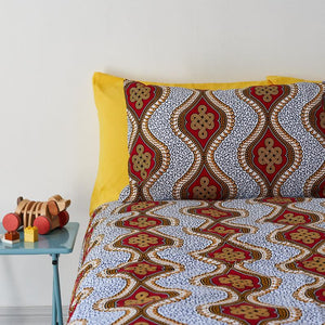 PRE-ORDER - African Print Duvet Set - Red Royalty