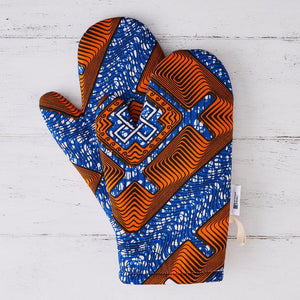 African fabric oven mitts - Blue Nsaa oven glove